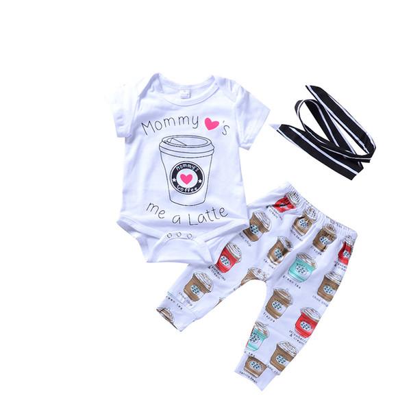 Bebê de 3 peças Conjunto de Roupas Copos de Café Impresso Meninos Meninas Roupas Terno de Algodão de Manga Curta Romper Calças Headband 0-24 M