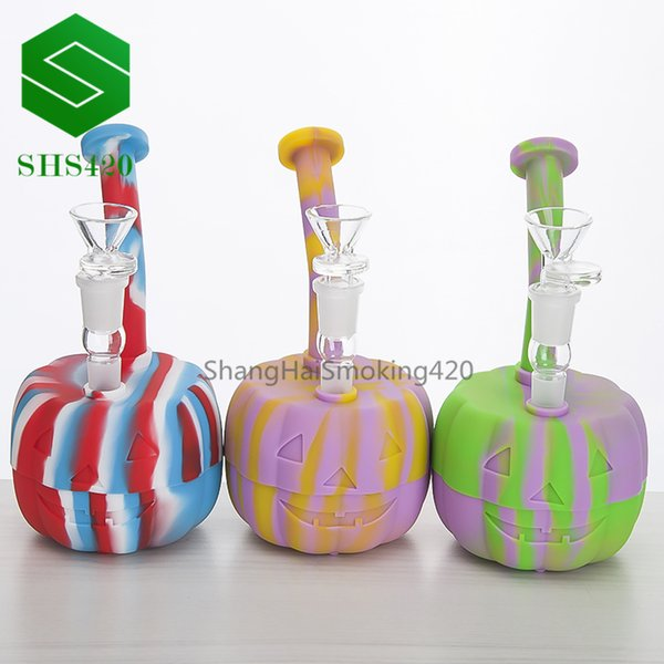Pumpkin Silicon Water Pipe Food Grade H=180mm D=93mm With Silicon Jar, Glass Bowl, Down Stem Mixed Colored Silicon Dab Oil Rig Wholesale