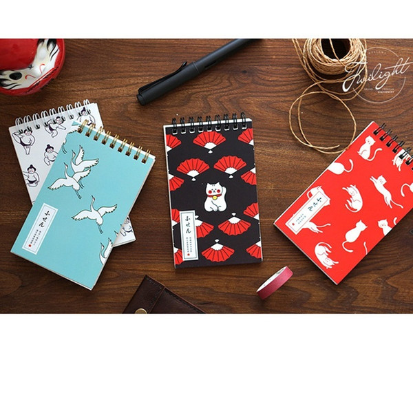 8 pcs/Lot Japanese designs coil memo note Color grid Cute cat sumo crane notepad planner Stationery office School supplies F803
