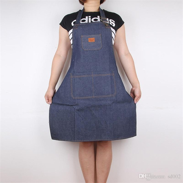 top popular New Design Denim Apron Cook Coverall Waiter Work Aprons Fashion Modern Coffee House Staff Supplies Anti Dirty Hot Sale 13cl ii 2020