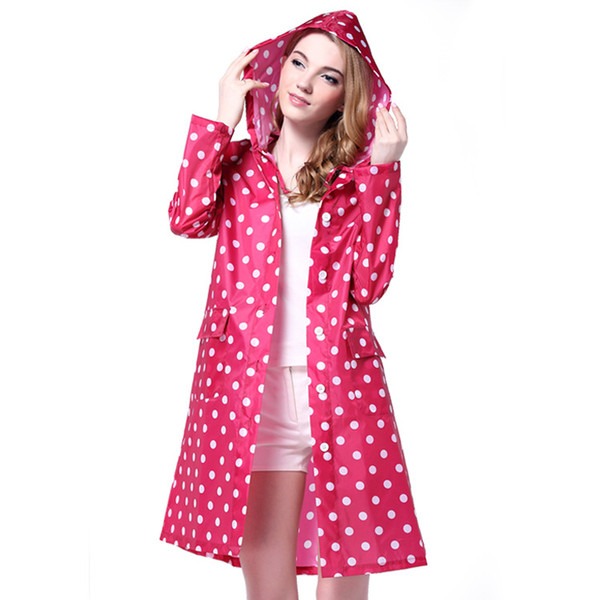 Women Raincoat 2016 Korean Fashion Wave Point Style Portable Hooded Poncho Waterproof Outdoor Travel Camping Hiking Rain Coat