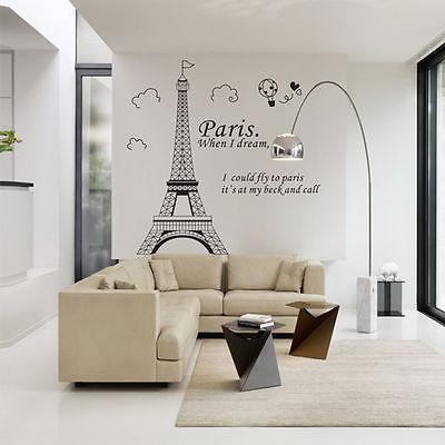 Timelive 2017 New Brand Paris Eiffel Tower Stickers Quotes Vinyl Art Decal Mural Poster Home Room Wall Sticker Decorations