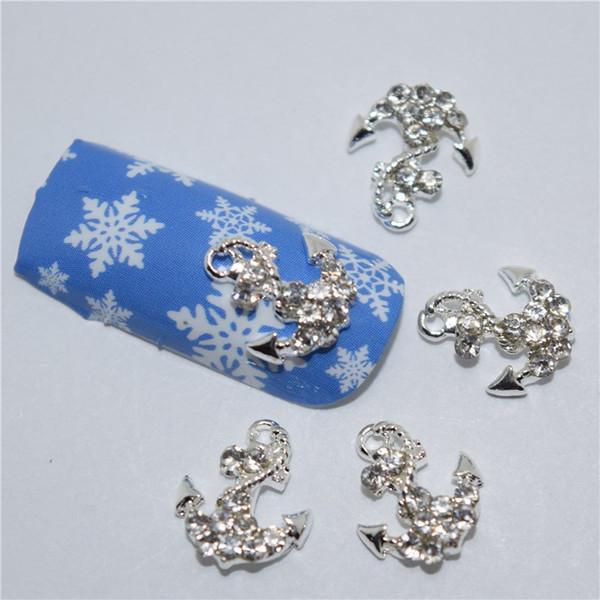 10 piezas de anclaje nuevo diamante blanco, aleación de metal 3D Nail Art Decoration / Charms / Studs, Nails 3d Jewelry # 148