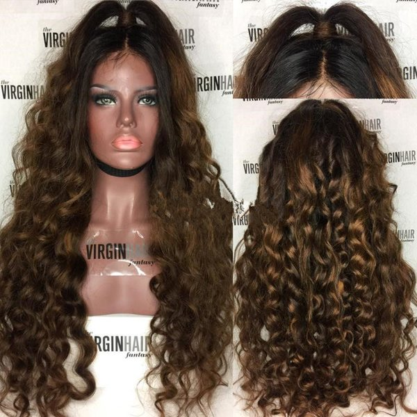 Free Shipping Ombre 1b 30# Color Brazilian Human Hair Full Lace Wig Loose Wavy Two Tone Lace Front Wig Glueless Wigs