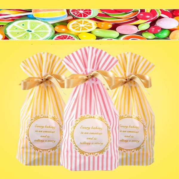 Plastic drawstring Bags For DIY Biscuits Snack candy cookies Baking Package Decor Kids Gift Supplies environmental stripe