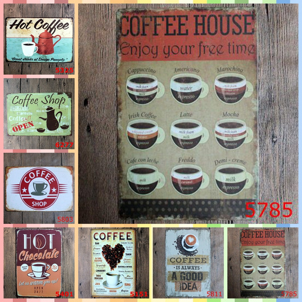 COFFEE HOUSE Tin Signs 20*30cm Tintins Posters Vintage Home Decor Tin Signs Wall Art Paint Crafts Supplies Graphic Tablet