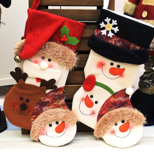 2018 nuevas decoraciones navideñas, muñecos grandes de muñeco de nieve de Santa Claus, calcetines de regalo para niños de Navidad. Yiwu explosiones juguetes
