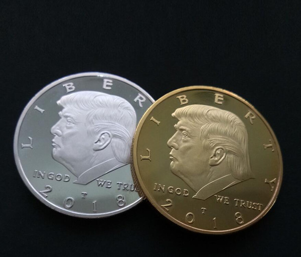 best selling 2018 Fashion Accessories New US President Trump Commemorative Coin Plating Gold Silver Trump avatar 50pcs free ship