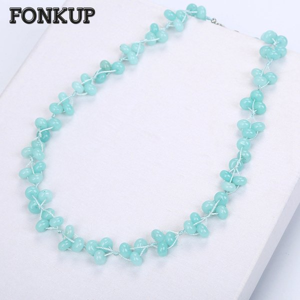 Fonkup Natural Aquamarine Collana Power Gem Bead Chain Trendy Donna Gioielli Uomo Party Ornament Clavicular Chain Double Layer