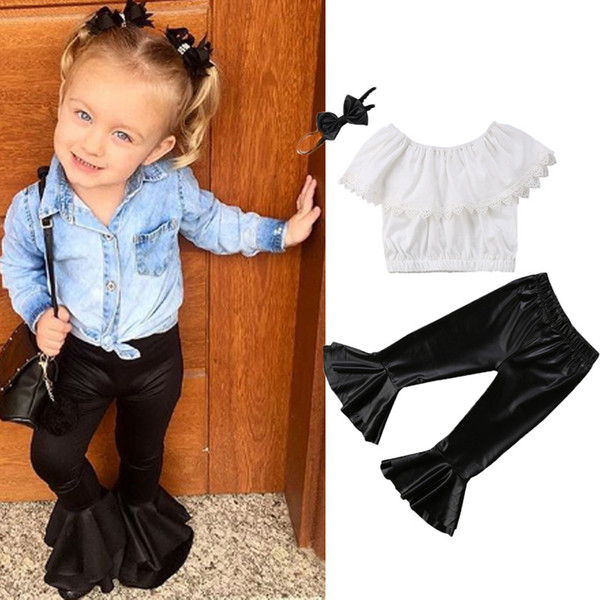 best selling 2018 summer girls clothing sets baby girl outfits kids off the shoulder tops lace white t shirts black leather ruffle pants flared trousers