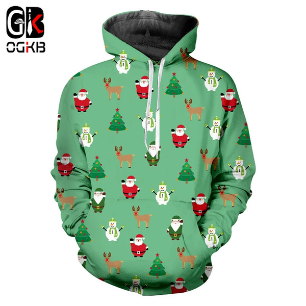OGKB Autumn New Man Funny Coat 3D Printed Santa Claus And Snowman Mini Tree and Elk Big Size 5XL Men's Hoodiees