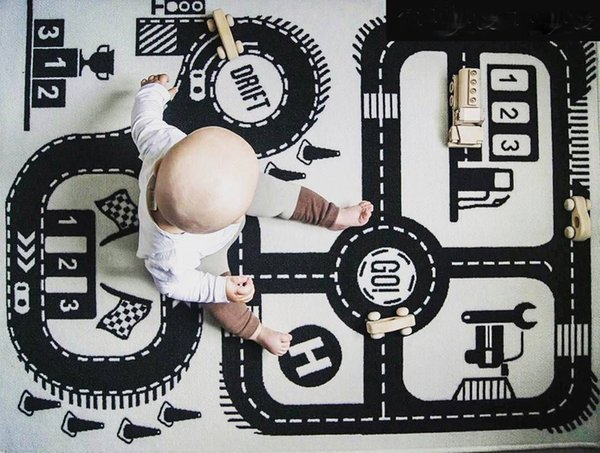 top popular Ins Auto Speedway Castle Children North European Fashion Play Mat Baby Crawling Carpet Size 55 by 35inch 2021
