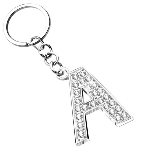 New Simple Design English Letters Keychains Keyring Silver Color Crystal Key Chains Purse Bag Pendant High Quality Keychains