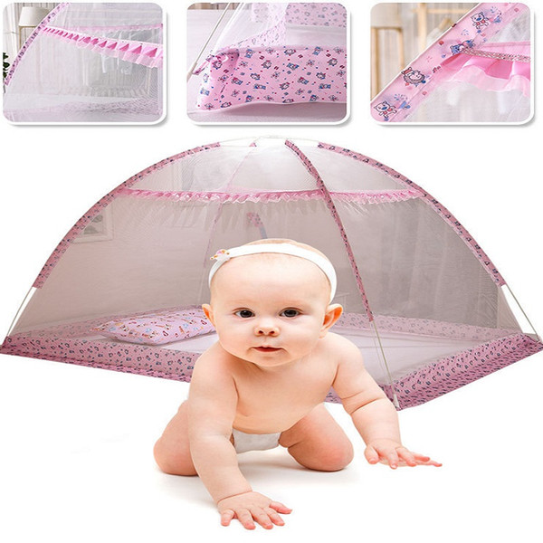 Summer Newly Infant Mosquito Net Folding Mongolian Yurt Mosquito Netting Baby Crib Tent Cradle Bed Canopy Mosquiteiros Blue Pink