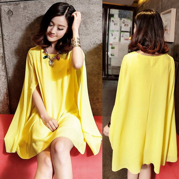 Women's Girls Summer Solid Chiffon Dress 2018 Cloak Cape Beach Dress for Women Loose Casual Plus Size Mini Dresses S-XXL W1350