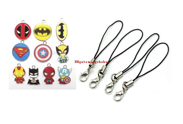 100 Pcs Mix Super hero Enamel Charms Metal Pendants DIY Jewelry Making Gift DIY Jewelry For Cell Phone Lanyard Cord Phone Straps