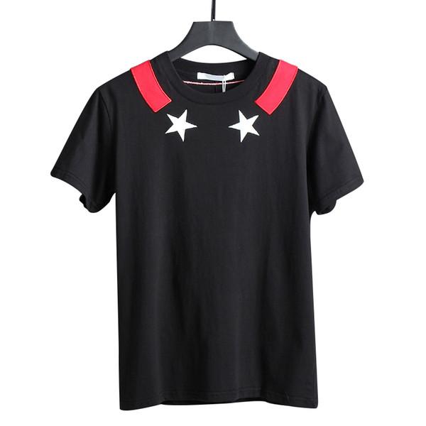 19ss as mais recentes marcas mens bordado branco pentagrama imprimir camisetas estrela impressão de algodão camiseta casual Designers tshirt tee tops