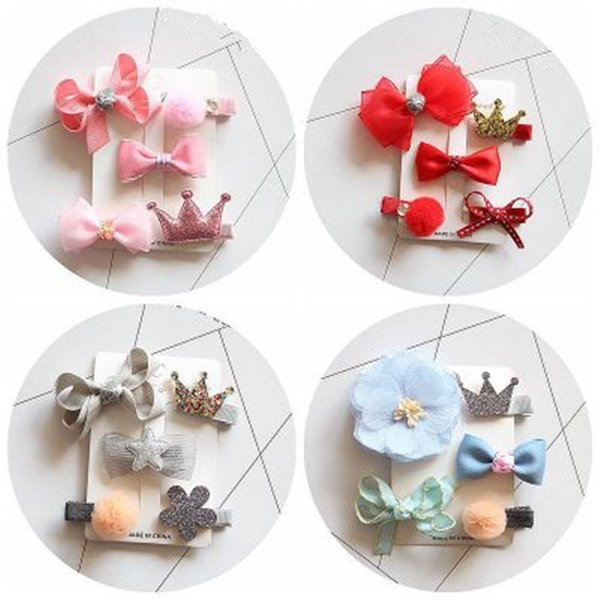 1Pack=5PCS Hot Sale Children New Hair Clips Cute Crown Flowers Safety Barrettes Little Girls Gifts Kids Hair Accessories