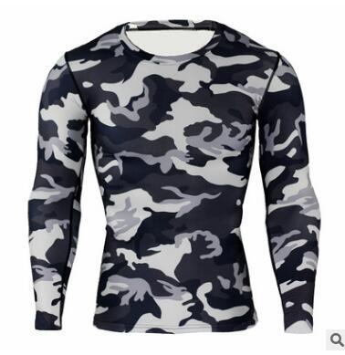 Nova Camuflagem Militar T Shirt Musculação Calças Justas de Fitness Homens Quick Dry Camo Camisas de Manga Comprida T Crossfit Camisa de Compressão