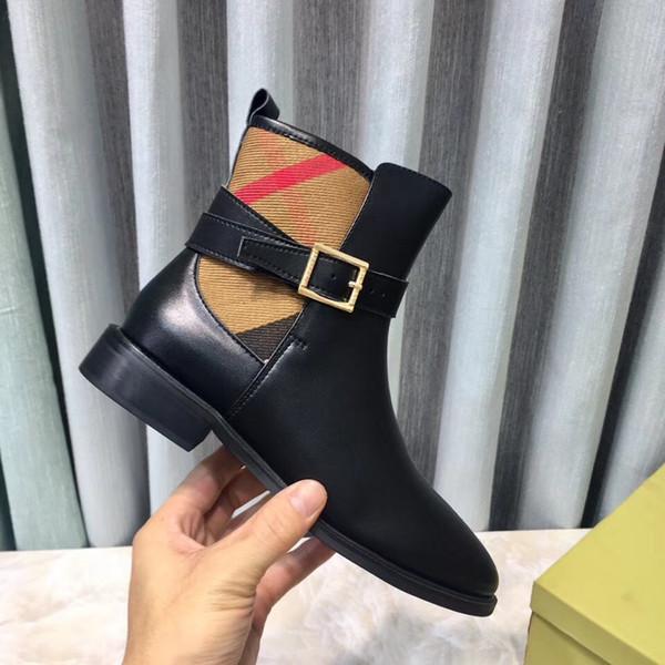 Las mujeres de invierno 2018 nuevo diseñador de cuero genuino stretch martin botas Botines Botines de moda Super estrella dama botas de combate de alta calidad