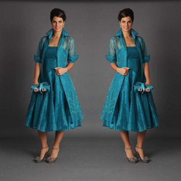 2018 Vintage Plus Size Tea Length Mother of The Bride Dresses Jacket Strapless Sleeveless Hunter Green Short Suits Evening Gowns BA8945
