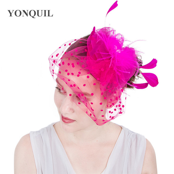 2017 New 9Colors Bridal veils with dot mesh fascinator hat loop feather base hat on clips elegant women headpiece hair accessories SYF146