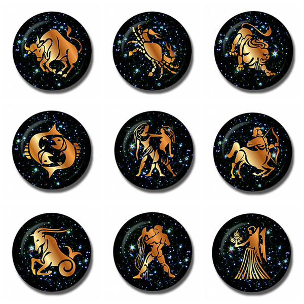 12 Constellations 30 MM Fridge Magnet Zodiac Sign Birthday Gift Note Holder Glass Dome Magnetic Refrigerator Stickers Home Decor