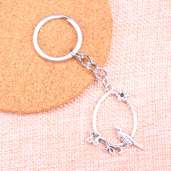 Fashion 28mm Key Ring Metal Key Chain Keychain Jewelry Antique Silver Plated bird birdcage branch 40*31mm Pendant