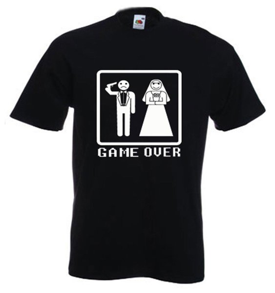 GAME OVER T-SHIRT - Stag Do Party Wedding - Choice of Colour Short Sleeves Cotton T Shirt Free Shipping Casual Man Tees