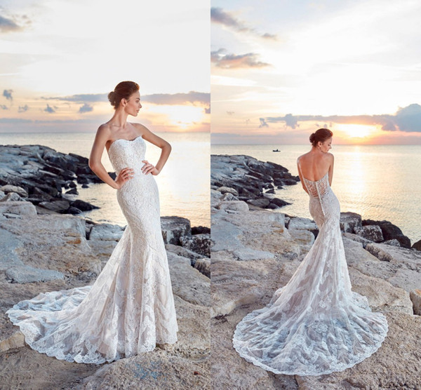 2018 Vintage Plaj Mermaid Gelinlik Straplez Dantel Aplike Kat Uzunluk Gelinlik Gelin Törenlerinde vestido de novia Custom Made