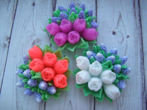 Tulipes bourgeons fleurs 3d moules en silicone moule à savon 3d moules à savon en silicone gel de silice die