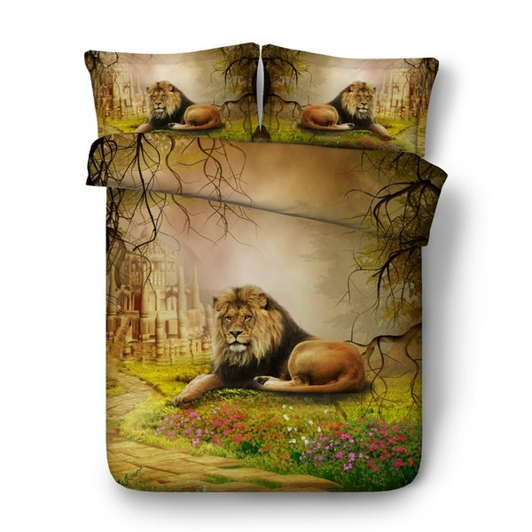 4/6pcs lion bed cover set for kids adult Single full Queen Super King size bed sheets 3d animal bedding double bed linen