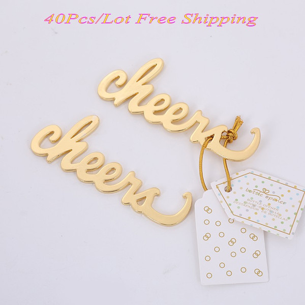 (40 Pieces/lot) Newest Event and Wedding decorations of Cheers Antique Gold Bottle Opener Wedding gifts for Bridal showers