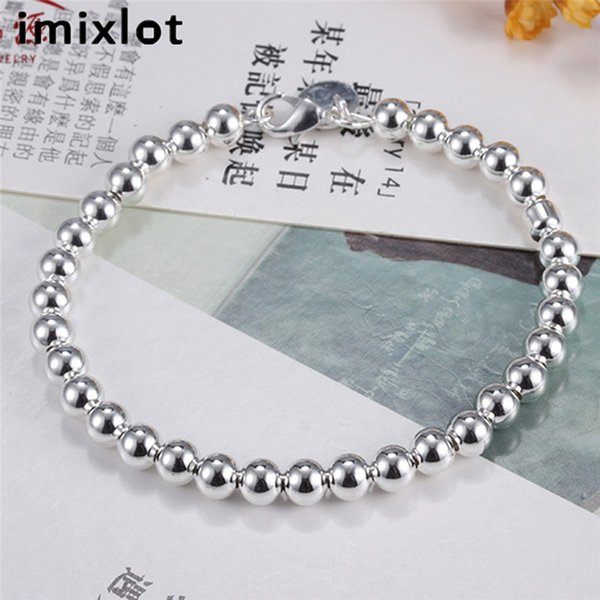 imixlot Korean Version Silver Plated Bracelet Ball Round Beaded Simple Bangles For Women Party Jewelry Gifts