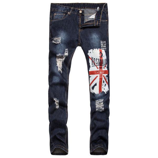 Winter Mens Jeans Brand Streetwear Skinny Jeans Pants Clothes Vintage Mens Clothing Washed Scrub Hole Flag Printing