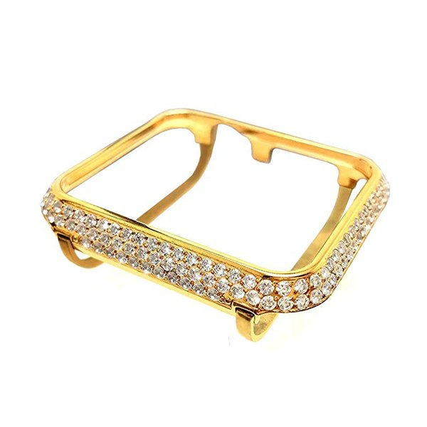 Bling-bling Diamonds Metal Bezel Case for Apple Watch iWatch S1/S2/S3 Sports&Edition Watch for the smaller Size (Gold/38mm)