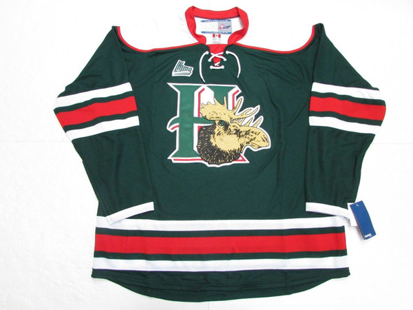 Halifax Mooseheads Retro Ice Hockey Jerseys Green Red Mens Stitched Custom  any number and name be5068bea