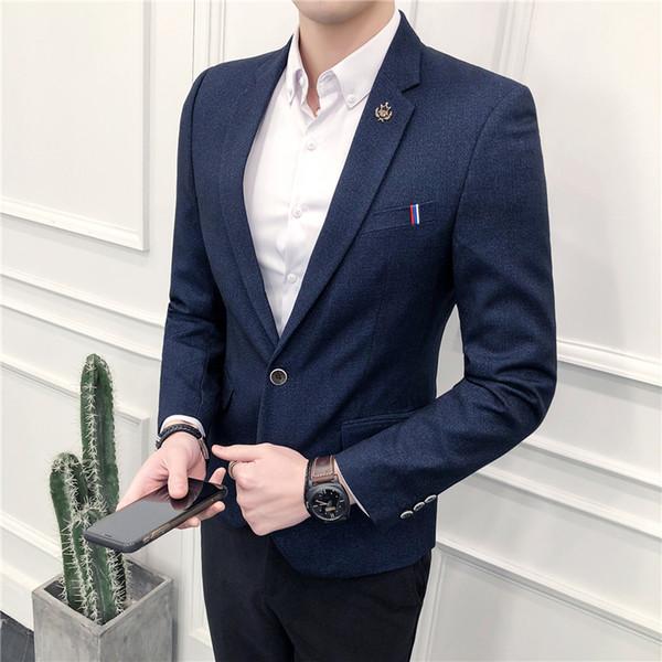 5b94d7bcda441b 2018 Spring brand Suit Blazer Mens Fashion Slim Fit Male Suits Casual  Blzaer Jacket Solid Color