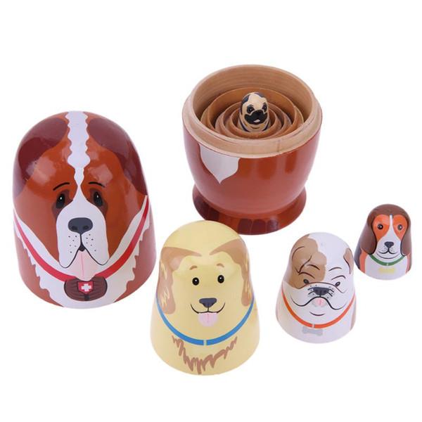 5pcs/set Basswood Lovely Dog Design Matryoshka Dolls Nesting Dolls Handmade Russian Doll for Girls Birthday Gift