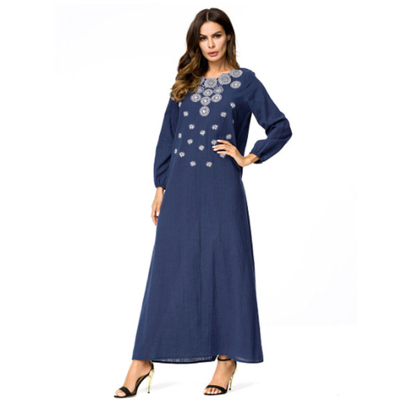 deep blue plus women Embroidery muslim arabic dress turkish gown Dubai moroccan Kaftan Islamic Abaya muslim clothing jalabiya