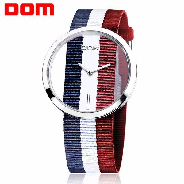 Moda scava fuori le donne Guarda DOM marchio 2018 signore cinturino colorato orologio al quarzo impermeabile vendita calda