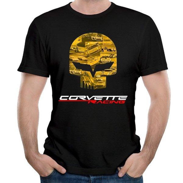 Leqemao Новый 2017 жаркое лето повседневная футболка печати Tee футболка Corvette Racer Punisher череп мужская круглый вырез