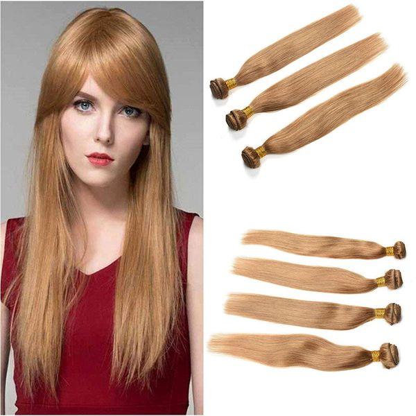 Malaysian Honey Blonde Straight Human Hair 3/4 Bundles Colored Malaysian 27# Blonde Straight Virgin Human Hair Weave Extensions