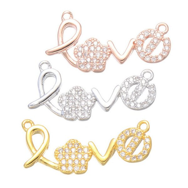 Wholesale DIY Handmade Jewelry Findings Components Luxury Zircon Rhinestone New Letter LOVE Charms Connectors Bracelet Necklace Pendant Fits