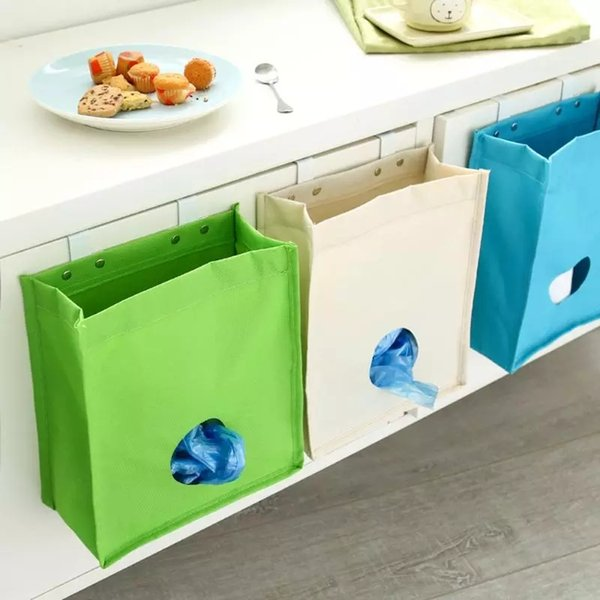 Kitchen Disposable Bag Hanging Sundries Storage Holders Trash Bags Clothes Organizer Pocket Mesh Holder Kitchen Accessories YFA330