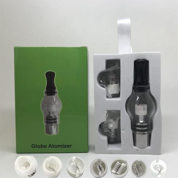 Glass Globe Wax Atomizer Single dual Ceramic Quartz Cotton Coils Pancake coil Dry Herb Atomizer in stock DHL free to USA