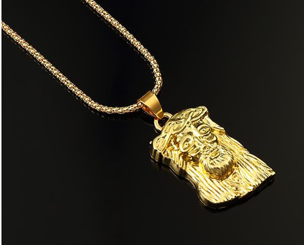 New year high quality hip Hop Gold Plated Jesus Head Pendant Men Necklace King Crown Iced Out Fashion Jewelry Gift yesus Present souvenir
