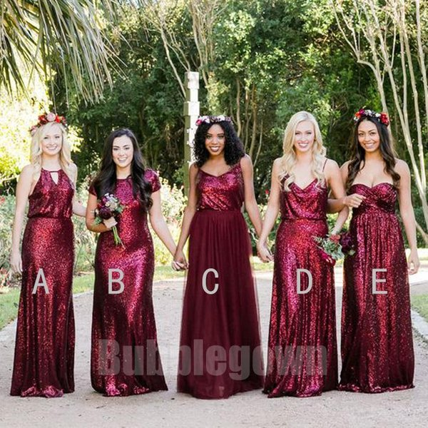 5675a35d9a73 2018 Popular Elegant Mismatched Burgundy Sequins Tulle Long Bridesmaid  Dresses Country Style Wedding Dress Custom Made