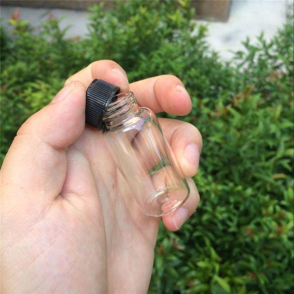 27 * 70 * 14 mm 25 ml botellas de vidrio con tapa de plástico transparente vidrio vacío botellas de regalo tarros negro Cap 50pcs / lot