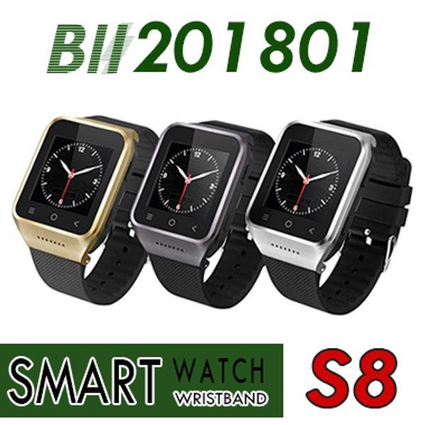 S8 Android 4.4 Smart Watch GSM Telefon GPS MTK6572 Dual Core 512 MB 4 GB 2.0MP Kamera SIM 3G WiFi Bluetooth 4.0 WCDMA 1.54 Zoll Smartwatch